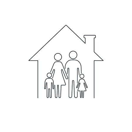 Family at house icon line illustration. Vector isolated sign.