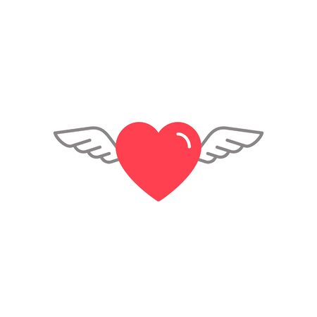 Heart with wings icon, Vector isolated simple flat illustration. 矢量图像