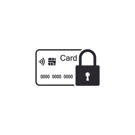 Credit Card with lock icon. Locked bank card illustration. Vector business concept. Иллюстрация