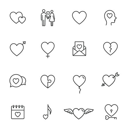 Heart Love icon Set. Vector isolated illustration. love Concept.