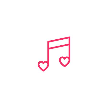Musical note and red heat icon vector logo design template. Love Music Template Design. Vector illustration.