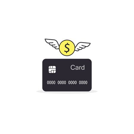 Money flying out of the credit card, Vector isolated flat design illustration. Иллюстрация