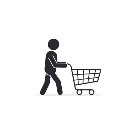 Man customer with supermarket cart. Man shopping icon design, vector.