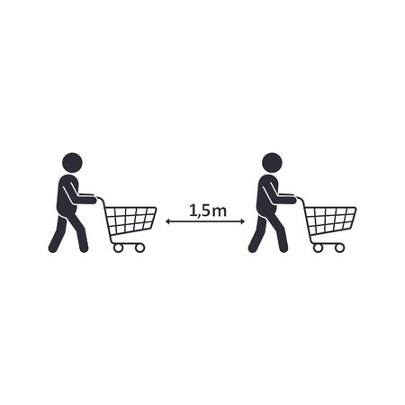Buyers with carts keep safe distance COVID-19. Vector illustration. Иллюстрация