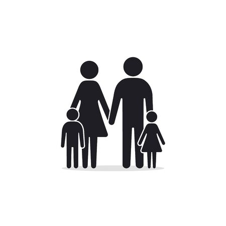 Family Icon, Vector isolated simple black illustration. 矢量图像