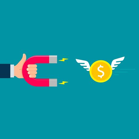 Hand with Magnet attracting flying money investments icon. Flat design, vector illustration.