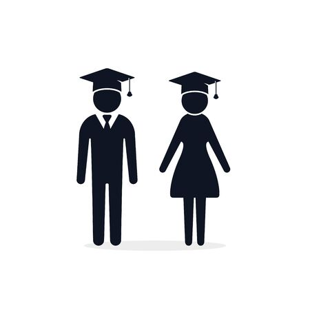 Graduate girl and boy in square cap or hat vector icon. Female and male in mortar hat and graduation academic gown.