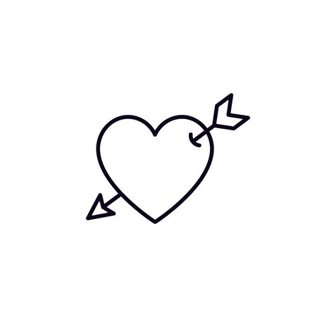 Heart with arrow line icon, Vector isolated simple love illustration. Иллюстрация