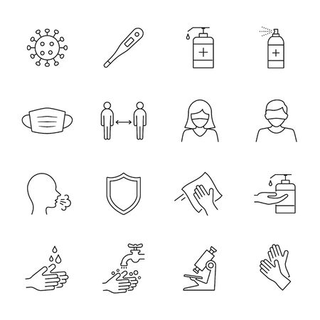 Simple Set of Coronavirus Protection Vector Line Icons. 矢量图像