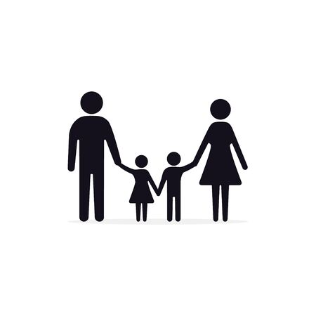 Family icon Vector sign, father mother daughter son holding hands isolated illustration.