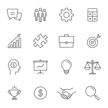 Business icon set, Vector line symbols isolated on white.