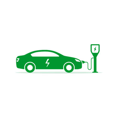 Electric car on charging station icon Vector Illustration.