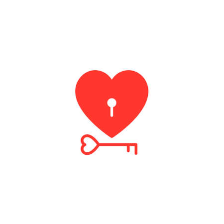 Heart Lock And Key Red Flat Icon On White Background. Valentines Day concept. Vector.