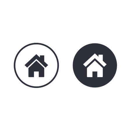 Home icon, house button, Real estate concept. Vector icon isolated on circle.