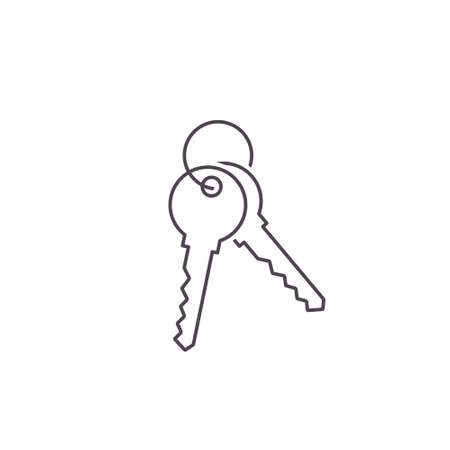 Keys vector line icon, Flat design simple isolated illustration.
