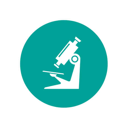 Microscope icon on circle. Vector isolated simple sign in flat design.