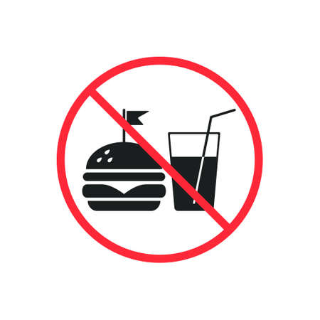 No Fast Food and Drink Prohibition icon Sign. Vector isolated symbol.