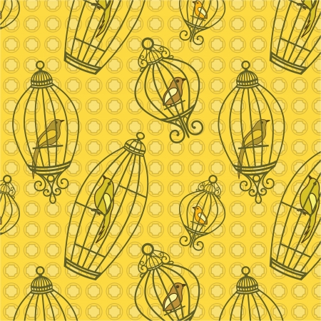 Bird in Birdcages pattern with yellow wallpaper
