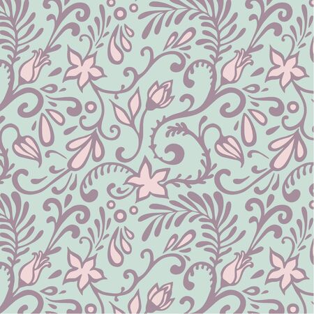 floral seamless vector pattern in pastel colors Illustration