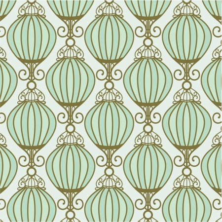 light motton blue pattern with Chinese lantern Vector