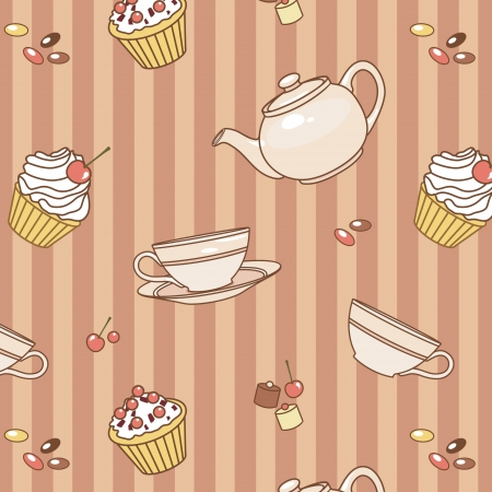 seamless vector pattern with cup, cakes, sweets and teapot Illustration