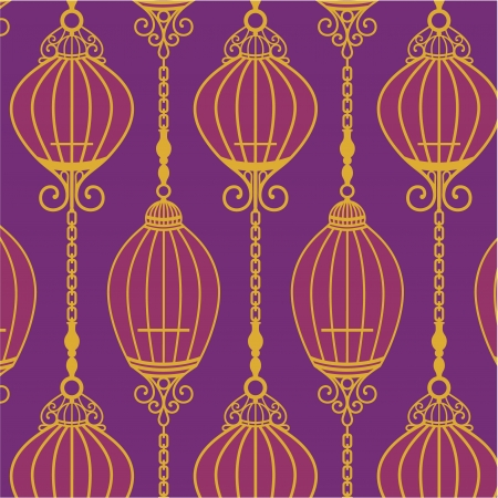 Chinese Pattern with Cages and chain in purple Vector