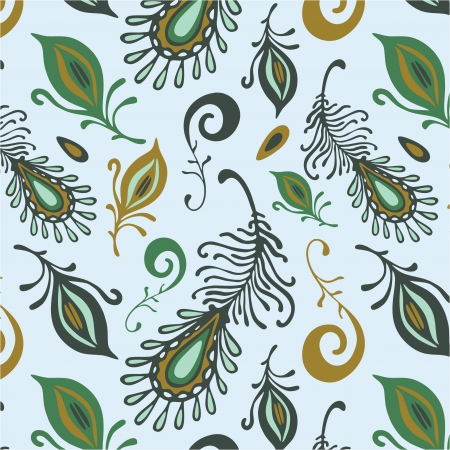 colorful various feathers  pattern Illustration