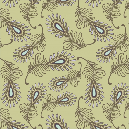 feather fairy-tale pattern in olive Vector
