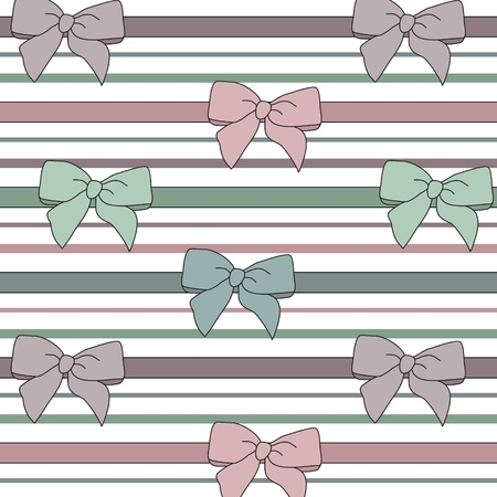 seamless vector pattern with  bows and ribbons