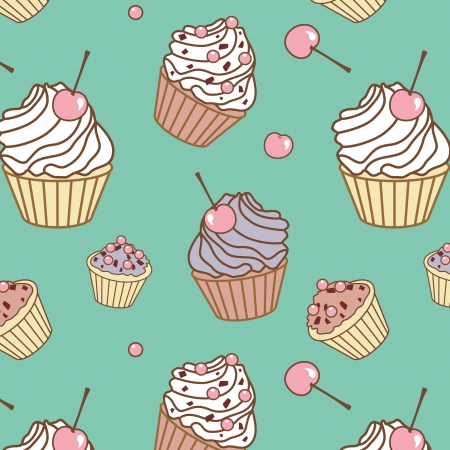 cream tea: colorful cake vector seamless pattern