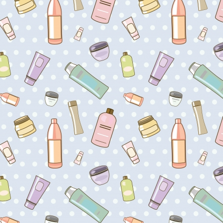 seamless vector pattern of various cosmetics Illustration