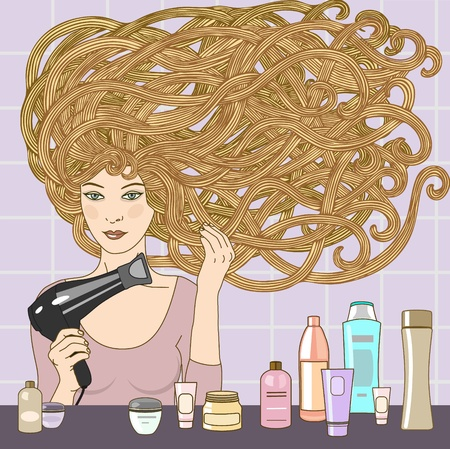 vector illustration of beautiful blond girl blows dry hair with hairdryer Vector