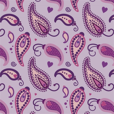 indian fabric: turquoise paisley vector pattern in  violet