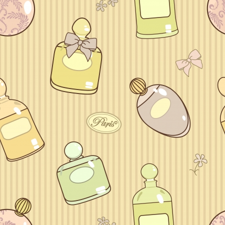 Pastel colored pattern with parfume bottles Vector