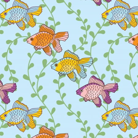 seamless vector pattern with  sea fish and algae Vector