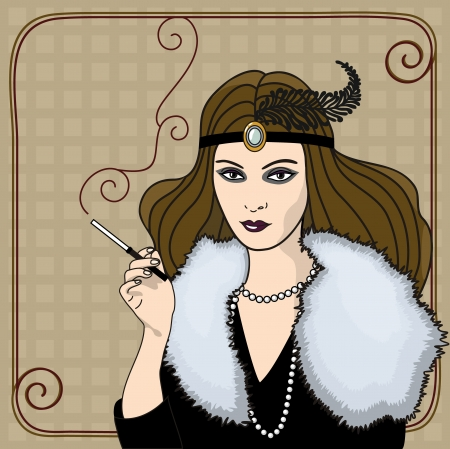 Broun hair woman with cigarette holder in retro style (1920s)  Vector