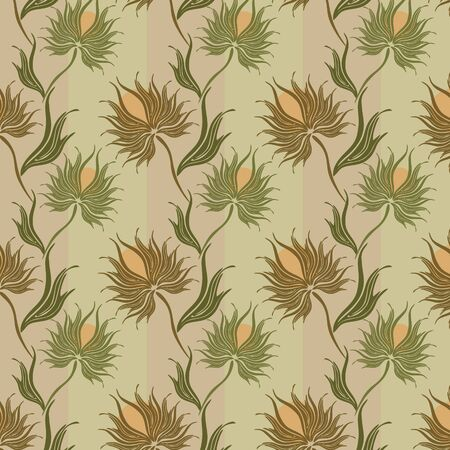 seamless vector pattern with spiny flowers and leaves Vector