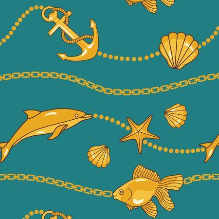 대양의: 황금 체인과 aquatique 원활한 바다 패턴 일러스트