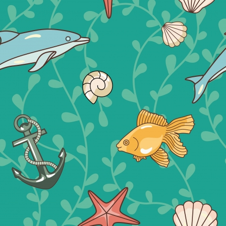 seamless ocean pattern with dolphin,shells  and  fish Vector