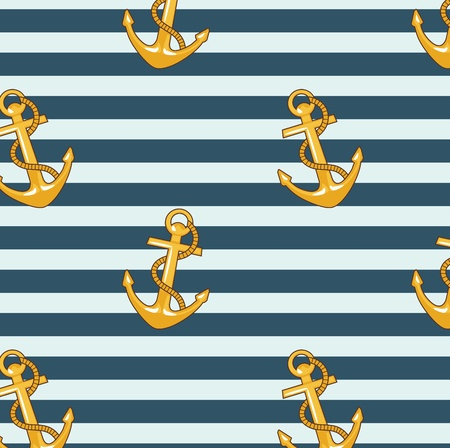 striped vest: seamless pattern with striped vest and anchors  Illustration