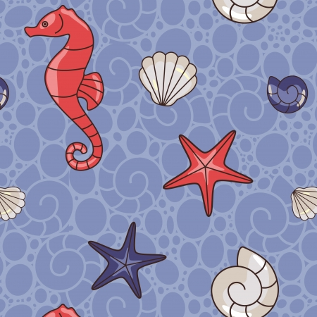 seamless pattern with seahorse  and  shell Vettoriali