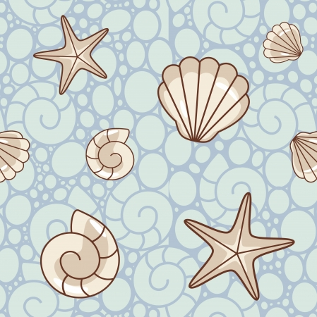 seamless sea  pattern with shells and starfish Vector