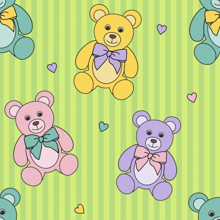seamless childrens pattern with  teddy bears on green Illustration
