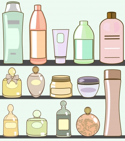 hair product: various cosmetics in bathroom
