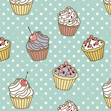pattern with cakes on vintage dot background Vector