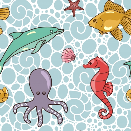 sea pattern with sea animals  Vector
