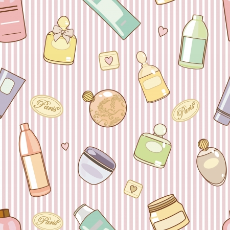 cleaning bathroom: pattern with  various cosmetics