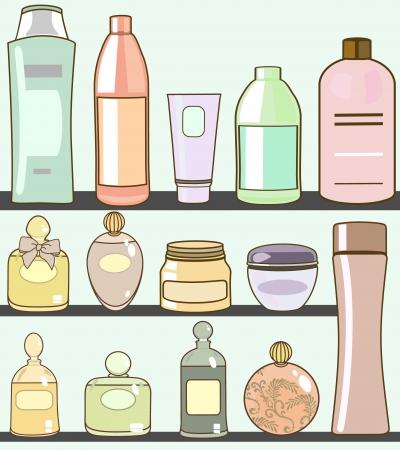 beaut� esthetique: divers cosm�tiques dans salle de bain Illustration