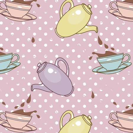 pattern with cups  and teapots on retro  background Vector