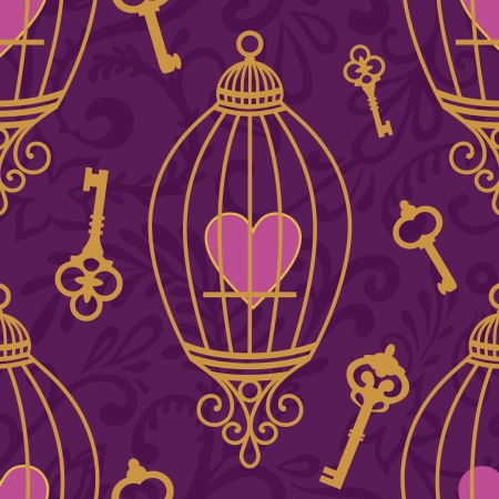 pattern with  hearts in cages and keys on violet